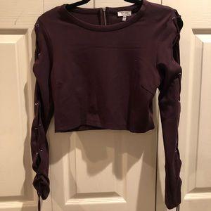 Tobi Purple Long Sleeve Crop Top